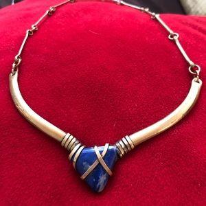 Jewelry - Vintage Lápiz Lazuli and Brass Statement Necklace